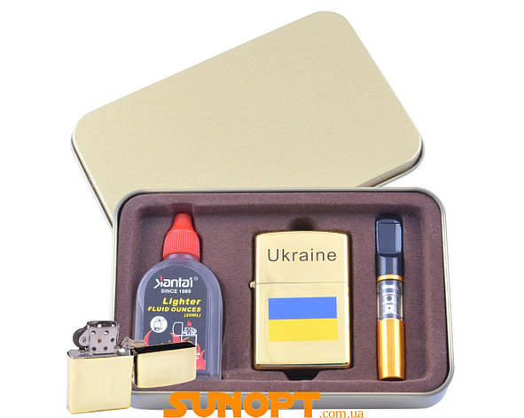Зажигалка бензиновая в подарочной коробке (Баллончик бензина/Мундштук) Флаг Украины №XT-4929-2, фото 2