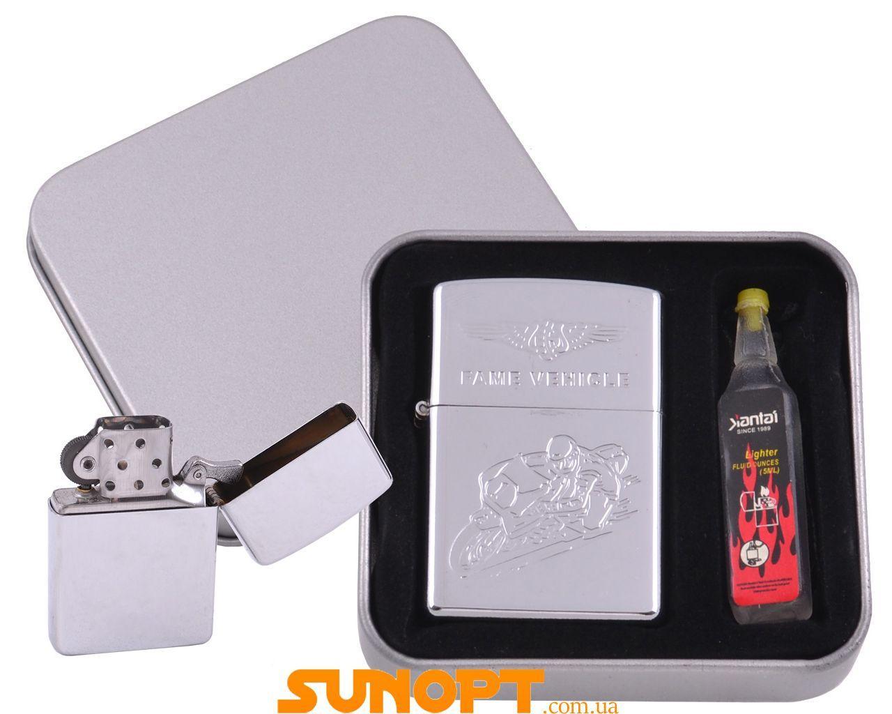 Зажигалка бензиновая в подарочной коробке + баллончик бензина Мотоциклист №XT-3861-1