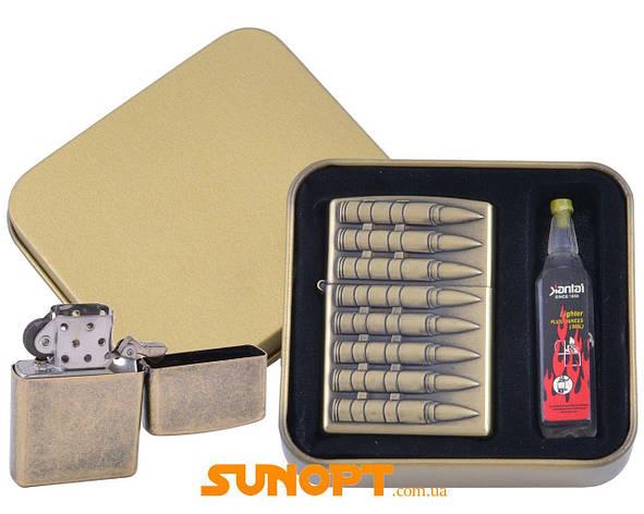 Зажигалка бензиновая в подарочной коробке + баллончик бензина Пули №XT-4396-1, фото 2