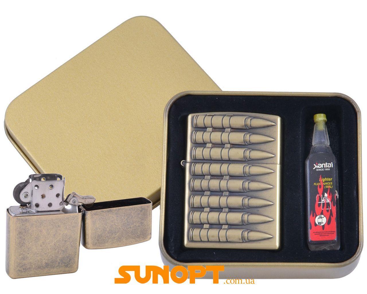 Зажигалка бензиновая в подарочной коробке + баллончик бензина Пули №XT-4396-1