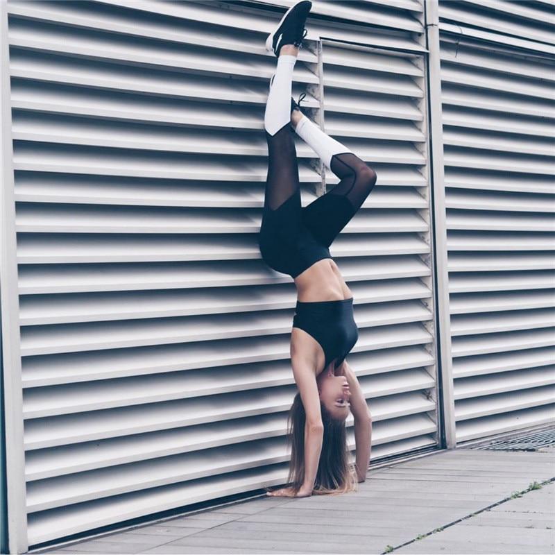 Леггинсы Sportmix для фитнеса черные с белым 2736