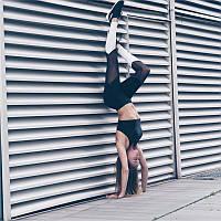 Леггинсы Sportmix для фитнеса черные с белым 2736, фото 1