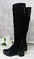 Ботфорты из натуральной черной замши и лаковой кожи, на удобном каблуке, размер 39-40(в наличии!)