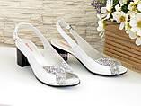 Женские белые босоножки на устойчивом каблуке, натуральная кожа и замша, фото 2