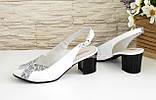 Женские белые босоножки на устойчивом каблуке, натуральная кожа и замша, фото 3