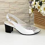 Женские белые босоножки на устойчивом каблуке, натуральная кожа и замша, фото 4