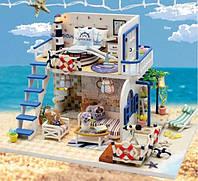 Кукольный домик у моря, миниатюра, двухэтажный, DIY набор для сборки, ночник