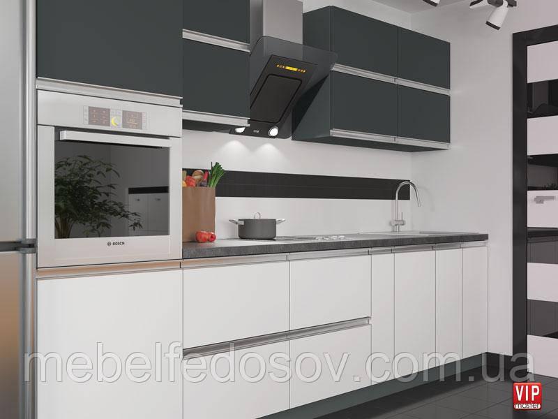 Кухня Альбина  (Vip master/Вип мастер) антрацит+белый