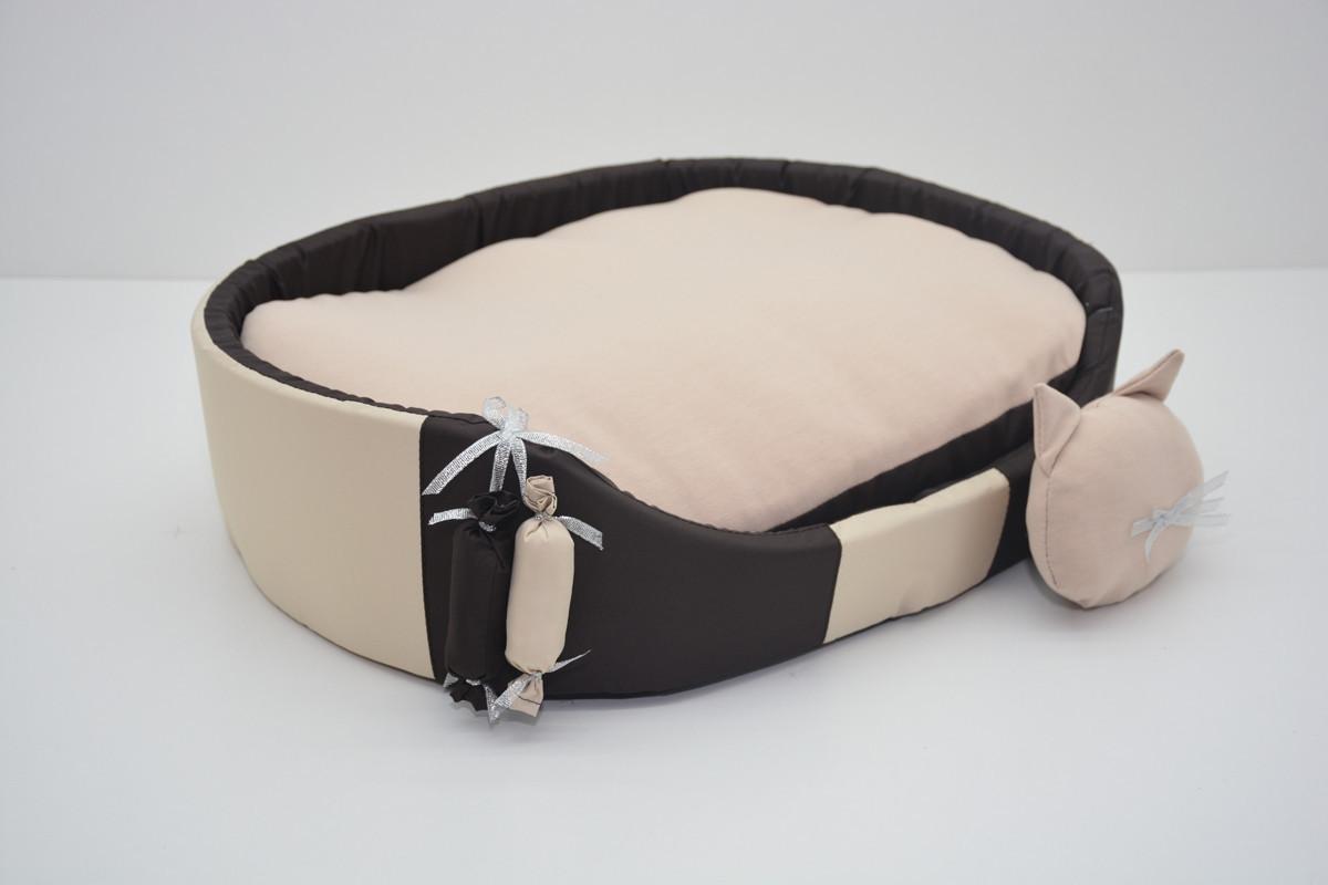 Лежак для собак и котов Комфорт лето коричневый 210х310х100 мини