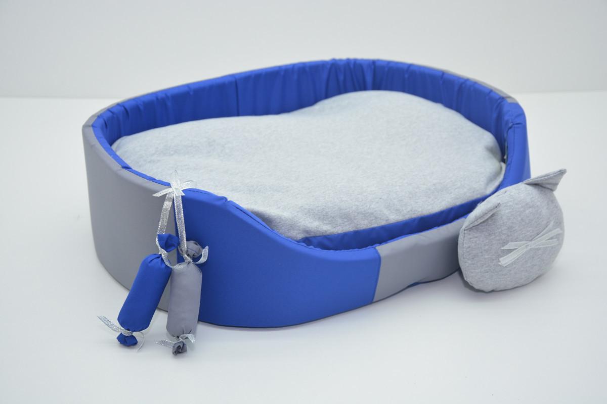 Лежак для собак и котов Комфорт лето синий 210х310х100 мини
