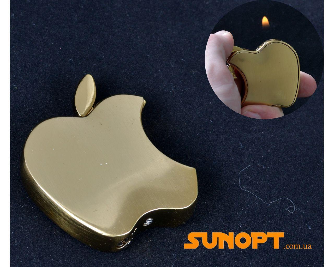 """Зажигалка карманная """"Apple"""" №3813 Gold"""
