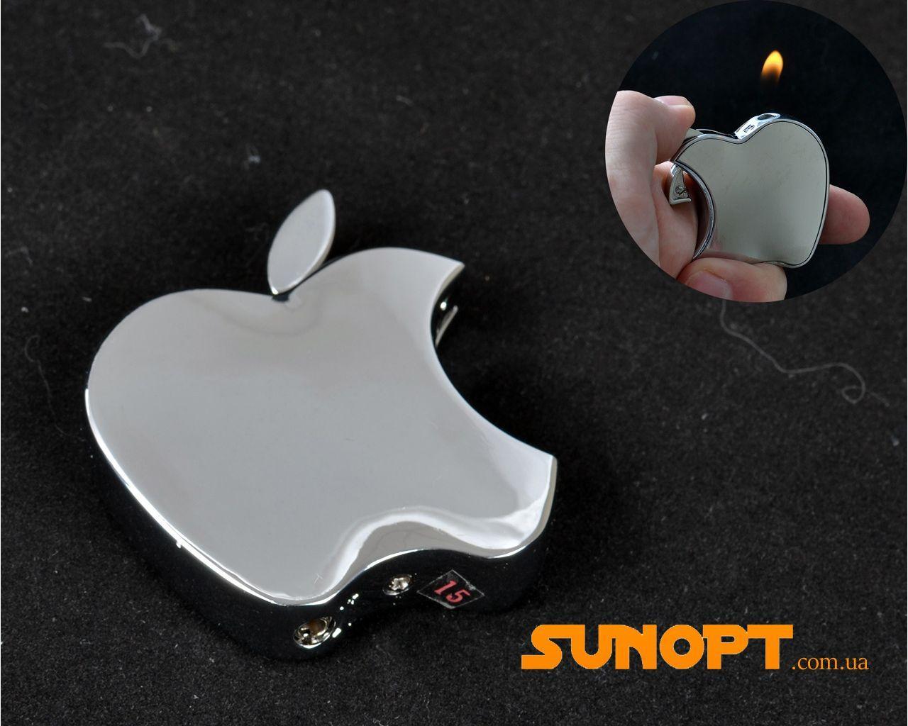 """Зажигалка карманная """"Apple"""" №3813 Silver"""