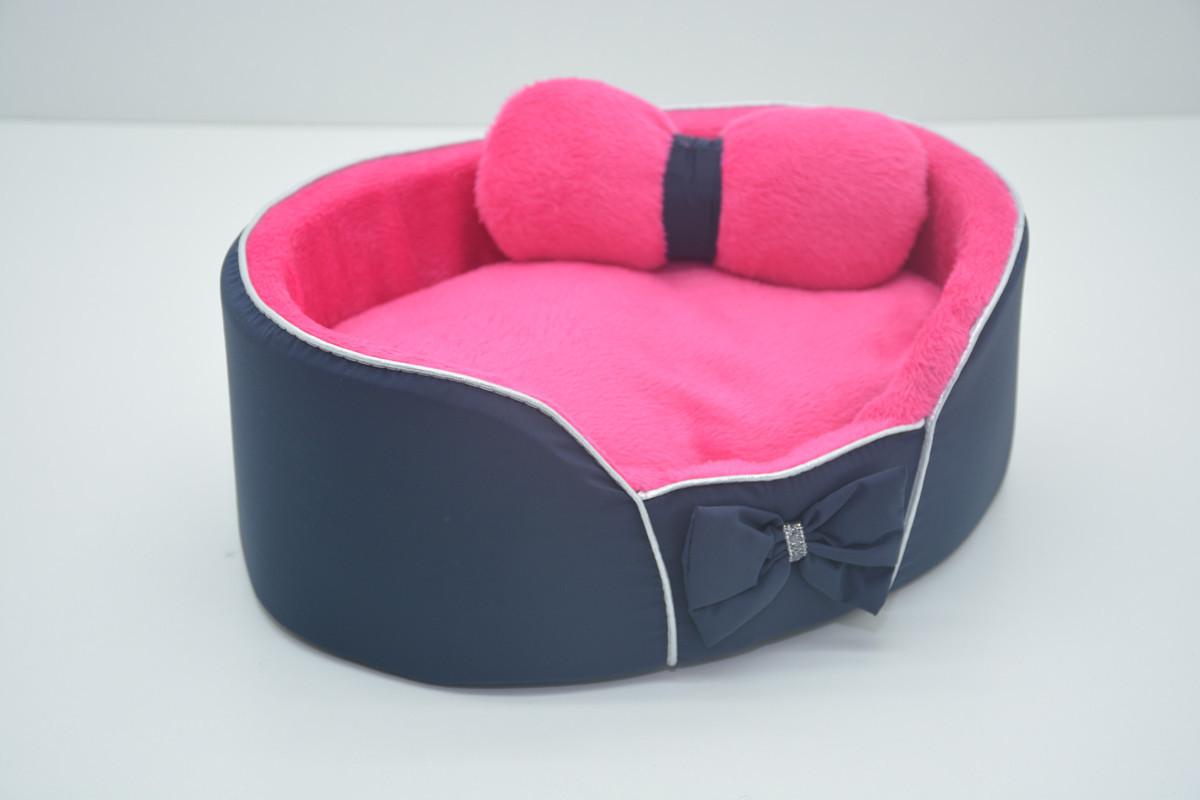 Лежанка для собак и кошек VIP Плюш синяя №1 320х430х100