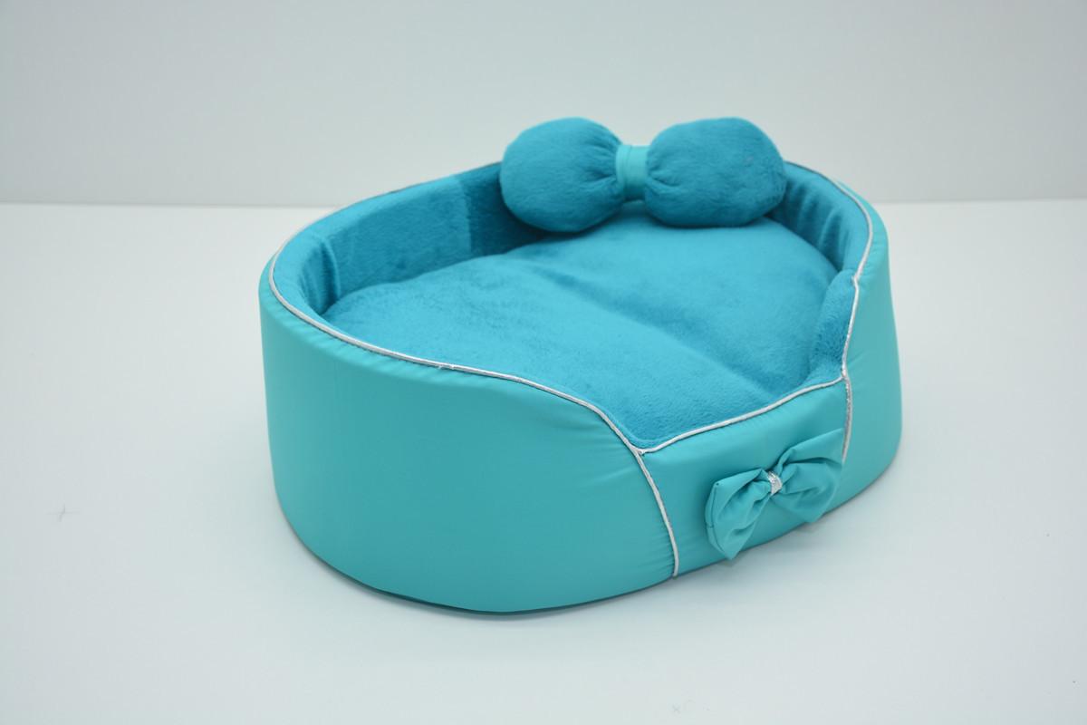 Лежанка для собак и кошек VIP Плюш бирюзовая №2 375х495х100