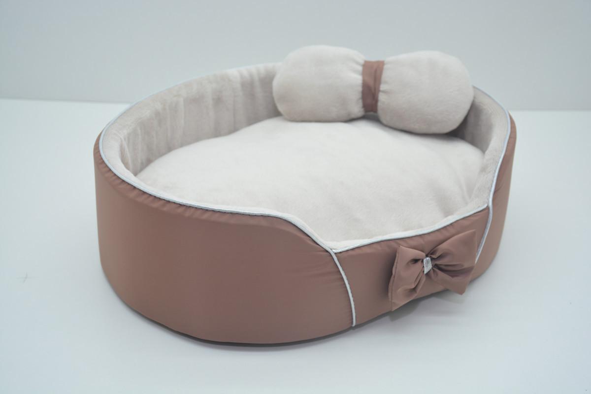 Лежанка для собак и кошек VIP Плюш коричневая мини 210х310х100