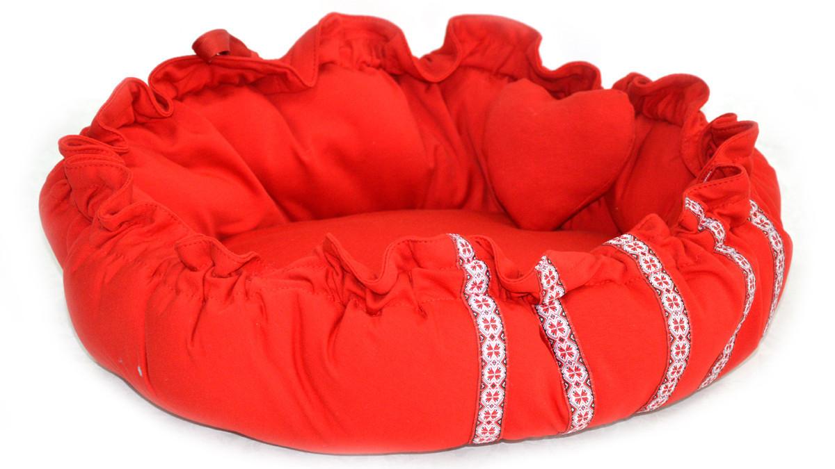 Лежак матрас для котов и собак круглый Вышиванка красный №2  d-420, h-170