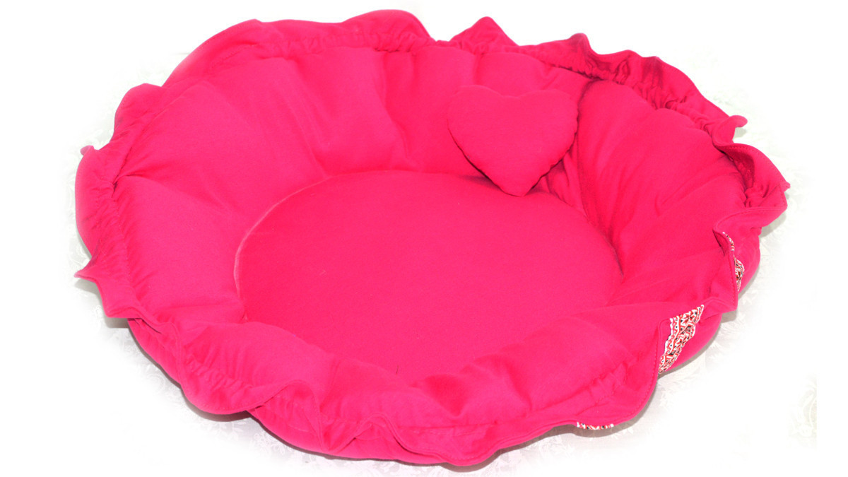 Лежак матрас для котов и собак круглый Вышиванка розовый