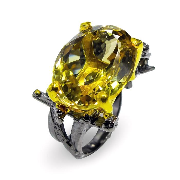 Кольцо серебряное с натуральным цитрином  размер 17.5