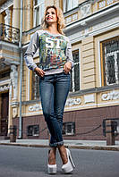 Женский серый свитер-свитшот / Размер M L XL XXL /  P7A7B17 - 1867