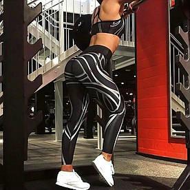 Легінси Sportmix спортивні чорні принт смуги в наявності розмір L