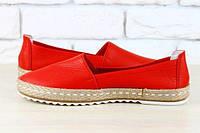 Эспадрильи красные кожаные
