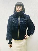 Куртка меховая женская из енота на шелке синяя, фото 1