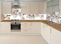 Кухонный фартук Орхидея 02, (полноцветная фотопечать, наклейка на стеновую панель кухни, цветы) 600*2500 мм