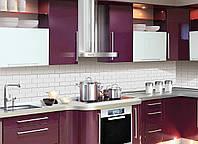 Кухонный фартук Текстура 03, (полноцветная фотопечать, наклейка на стеновую панель кухни, под белый кирпич) 600*2500 мм