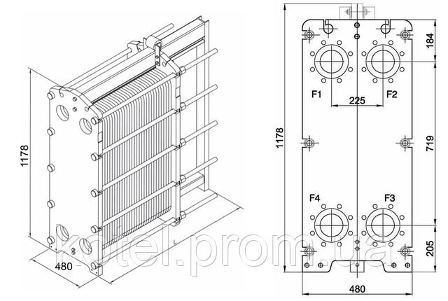 Размеры разборного пластинчатого теплообменника СТА-26
