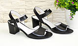 Кожаные женские босоножки на устойчивом каблуке, цвет черный., фото 7