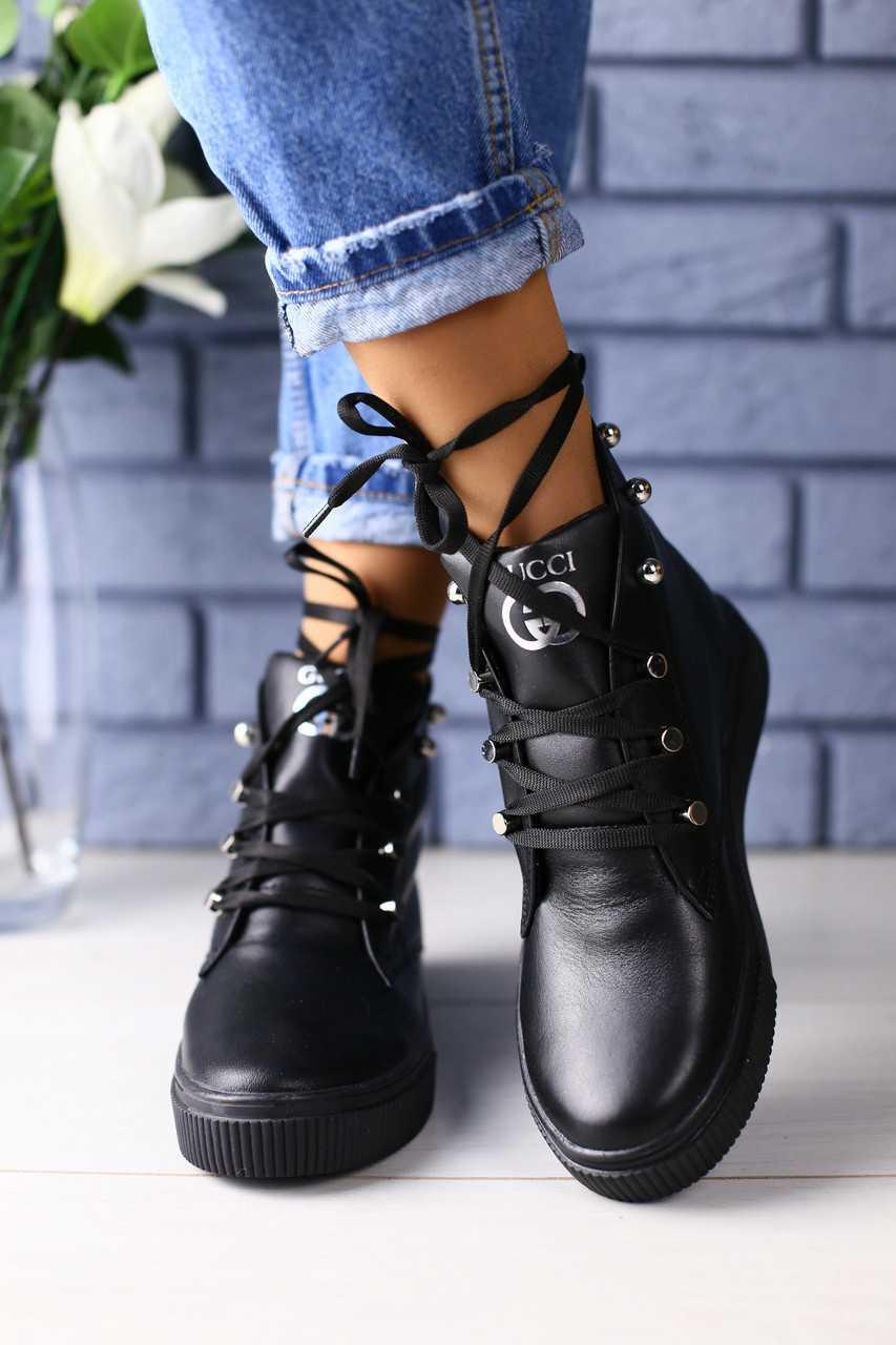 d462ad0e ... ТОП Ботинки женские Gucci кожаные весенние молодежные высокие на  шнуровке с шипами в черном цвете, ...