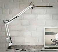 Настольная светодиодная лампа на струбцине белая 10 Вт