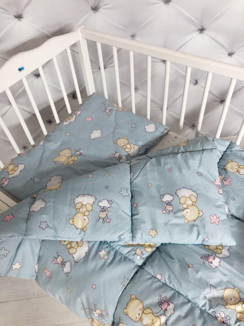 """Нежный детский комплект одеяло и подушка принт """"Мишки"""""""