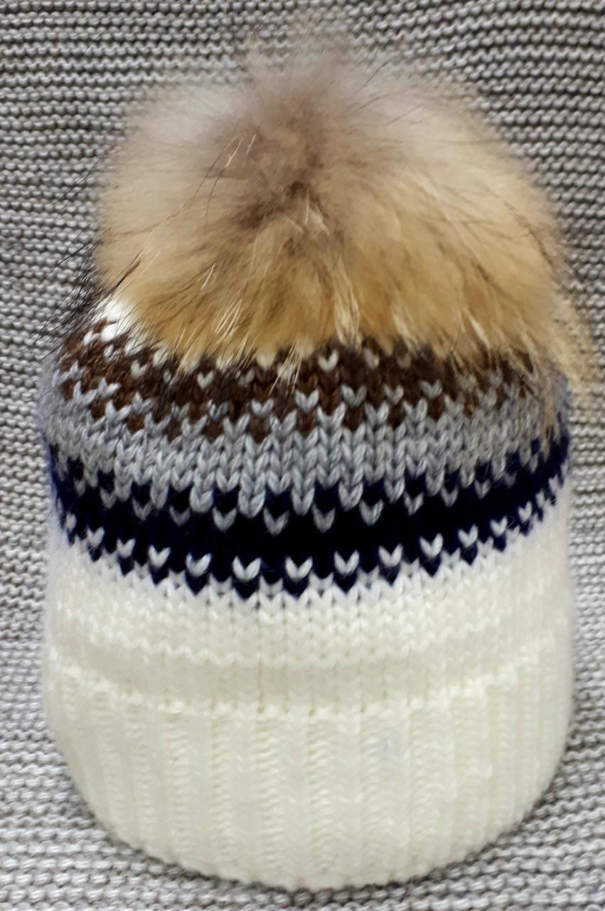 Шапка на девочку зима молочного цвета Olta (Украина) размер  52 54