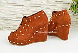 Женские замшевые рыжие ботильоны на шнуровке, фото 3