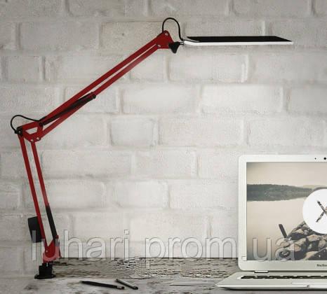 Настольная светодиодная лампа на струбцине красная 10 Вт