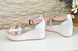 Босоножки женские кожаные на платформе, цвет пудра и белый, фото 3