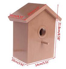 Скворечник с прозрачной стенкой для просмотра, домик кормушка для птиц, фото 3