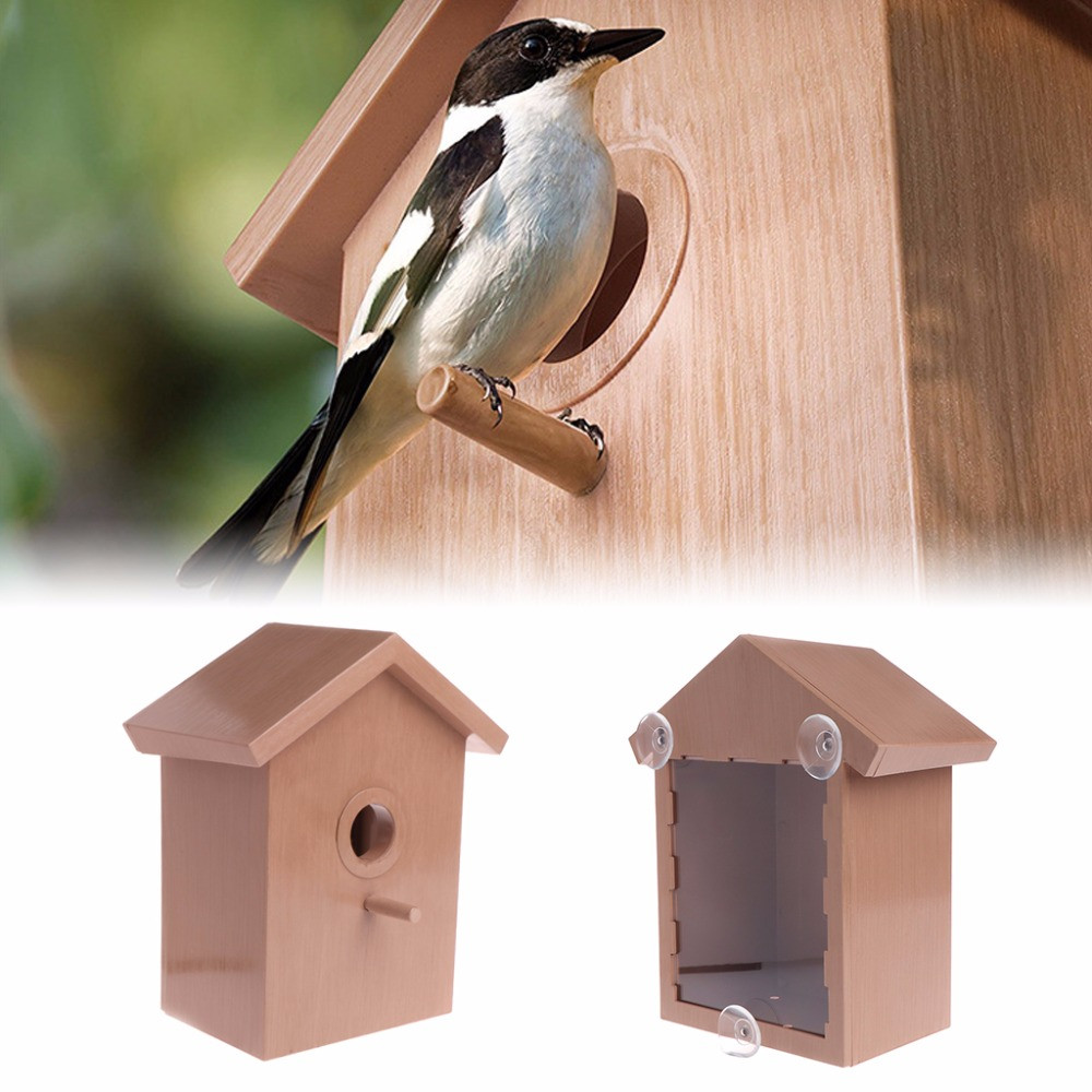 Скворечник с прозрачной стенкой для просмотра, домик кормушка для птиц