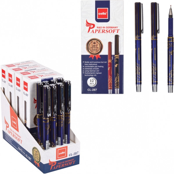 Ручка масляная «Papersoft» Cello  синяя 1 упаковка (12 штук)