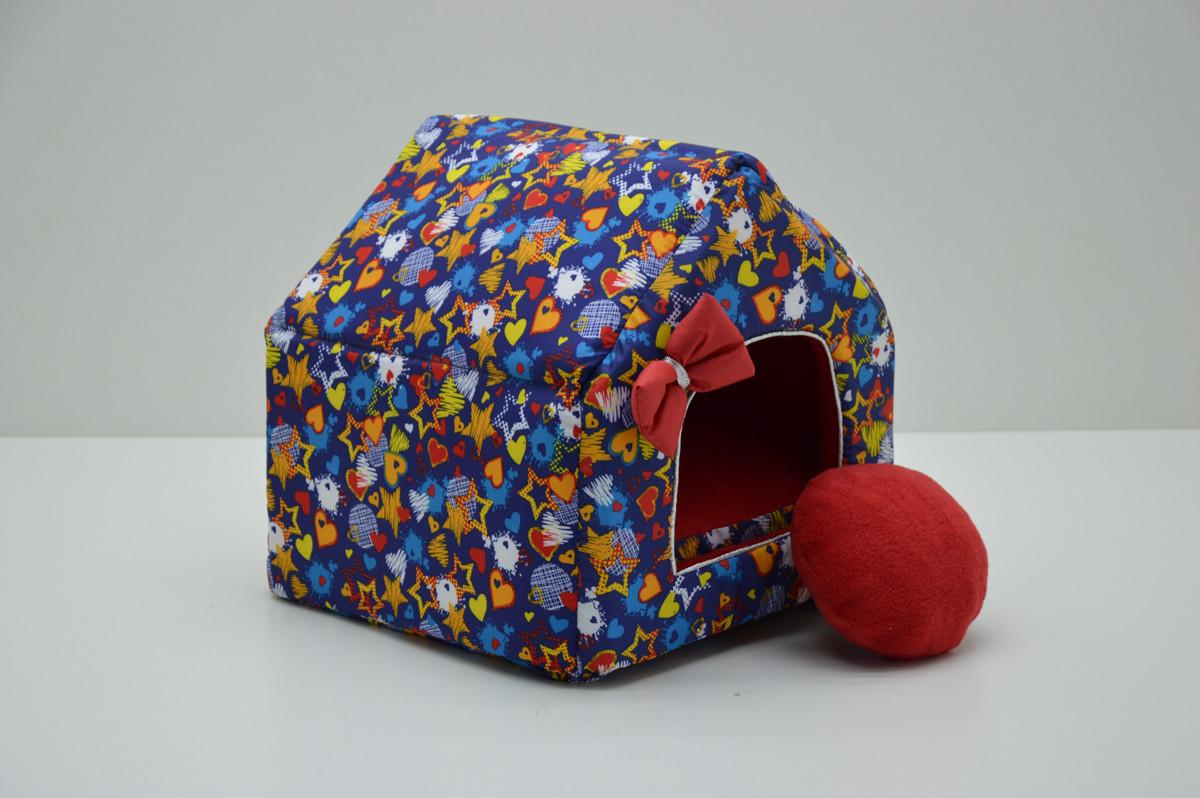 Домик для собак и котов Звездочка синий №1 300х330х330
