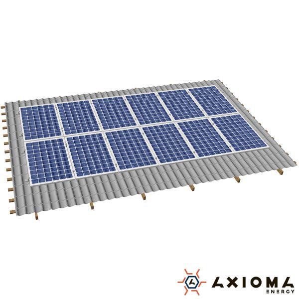 AXIOMA energy Система креплений на 16 панелей параллельно крыше, алюминий 6005 Т6 и нержавеющая сталь А2, AXIOMA energy