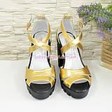 Босоножки женские на высоком каблуке, из натуральной кожи золотого цвета, фото 2