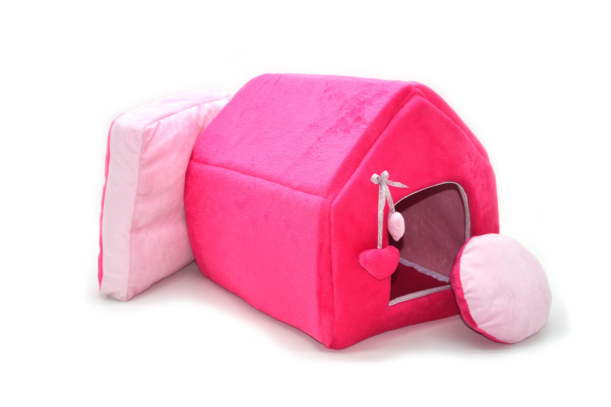 Домик для котов и собак Плюш розовый №1 300х330х330