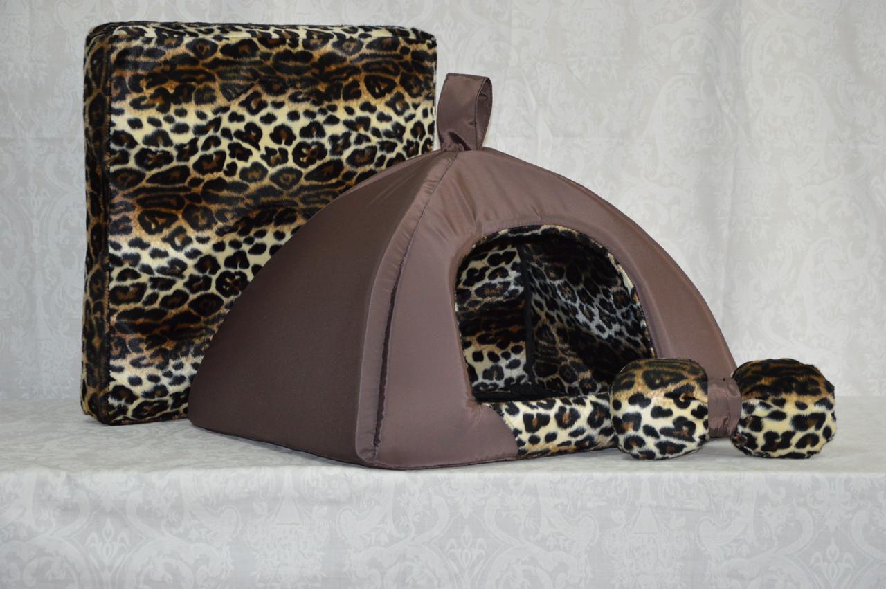 Домик юрта для котов и собак Леопард-2 коричневый №1 390х390х310