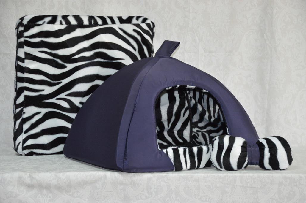 Домик юрта для котов и собак Леопард - 2 синий №2 460х460х350