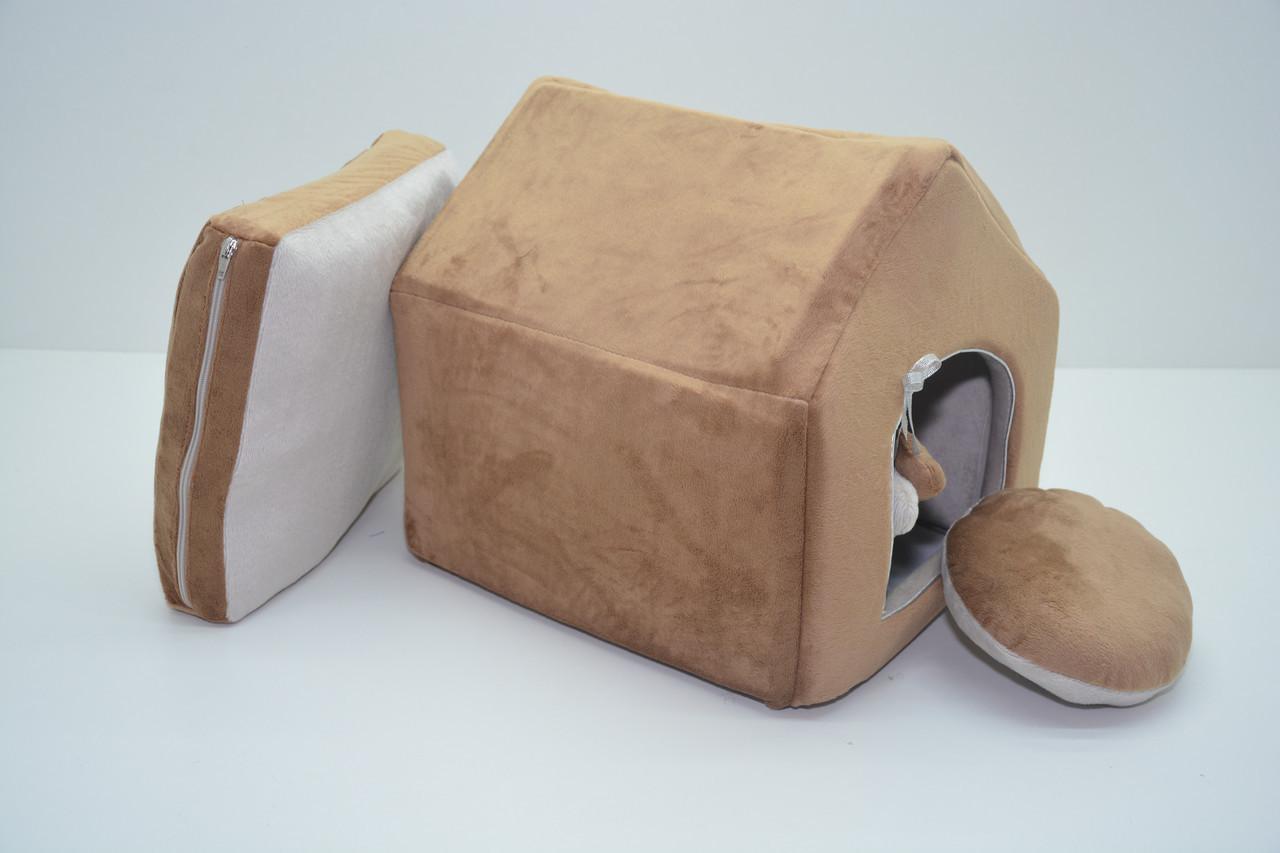 Домик для котов и собак Плюш коричневый №2 345х390х385