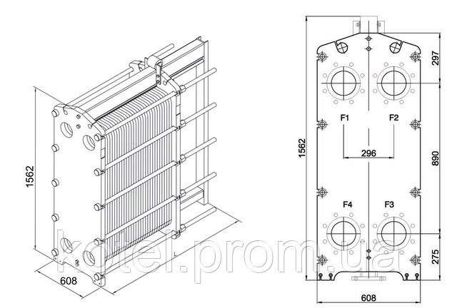 Размеры разборного пластинчатого теплообменника СТА-45