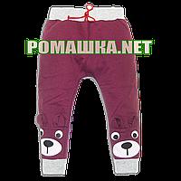 Детские спортивные штаны для мальчика или девочки р. 98 с начесом тонкие ткань ФУТЕР 3862 Бордовый, фото 1