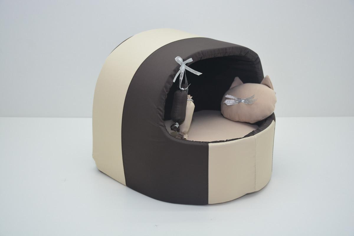Будка для котов и собак Комфорт лето коричневая коричневая №2 425х375х375